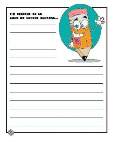 2nd Grade Back to School Writing Worksheet