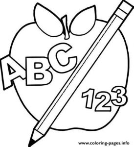 Abc 123 Back To School Apple Coloring Pages Printable