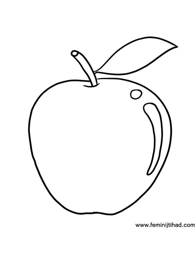Apple Coloring Pages For Kindergarten