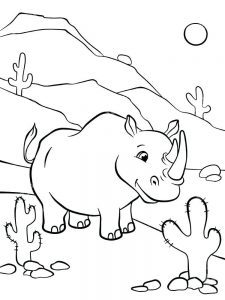 Baby Rhino Coloring Page