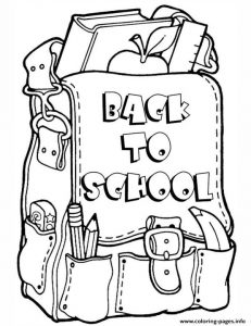 Back To School Bag Coloring Sheet