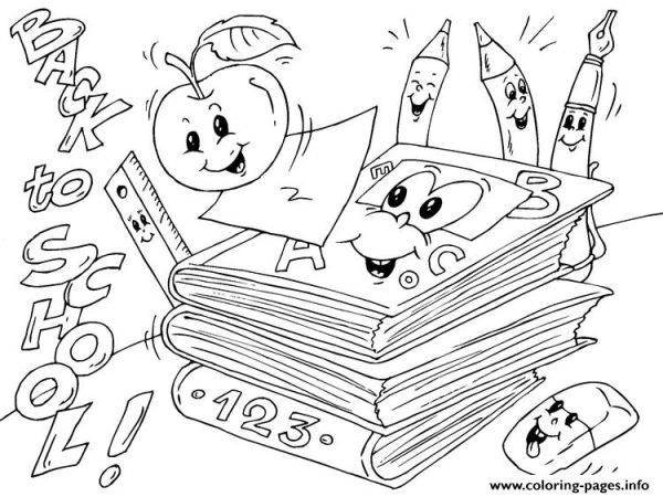 Back To School Books Coloring Pages Printable
