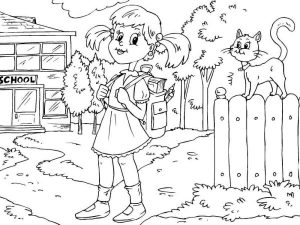 Back To School Coloring Pages Cat on the Fence