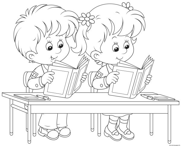 Back To School Kids Reading Books Coloring Pages Printable