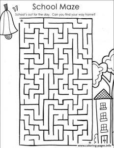 Back To School Maze Coloring Pages Printable