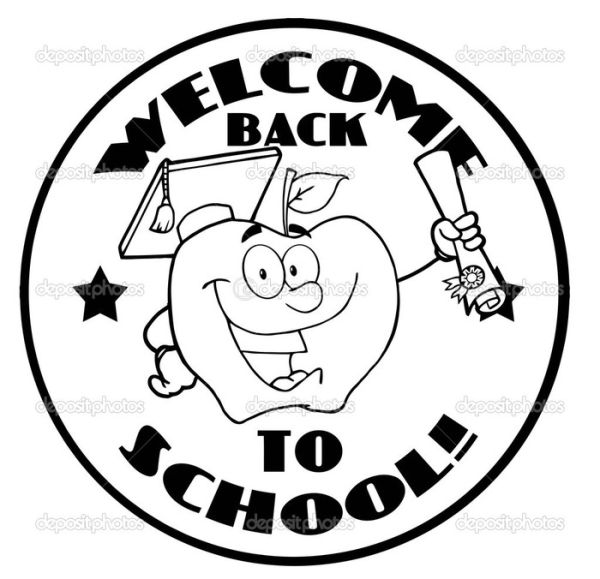 Back to school coloring pages Round Logo