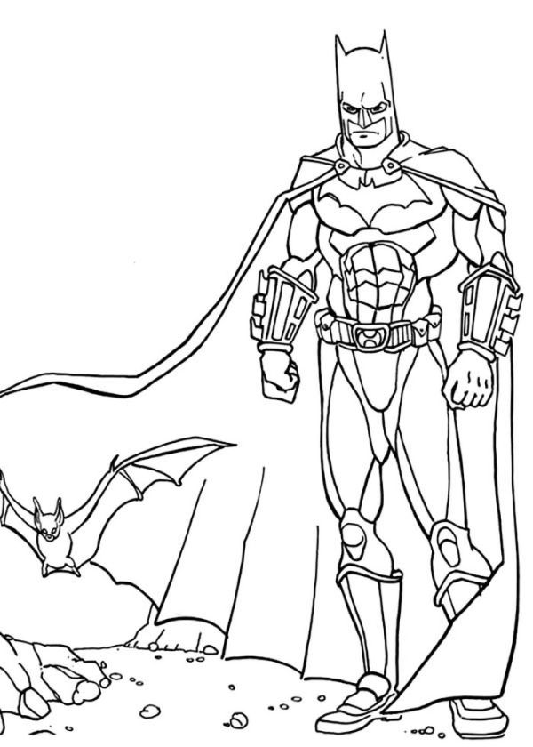 Batman And A Bat In A Ruin Building Coloring Page