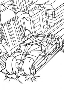 Batman And Bat Mobile In Action Coloring Page