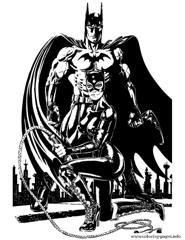 Batman And Catwoman For Teenagers Coloring Pages Printable