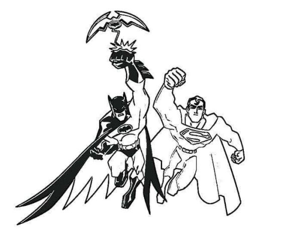 Batman And Superman Colouring Page