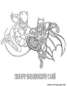 Batman Catwoman Valentine Heart Coloring Pages Printable