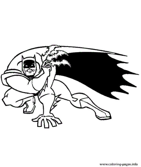 Batman Crouching Coloring Pages Printable
