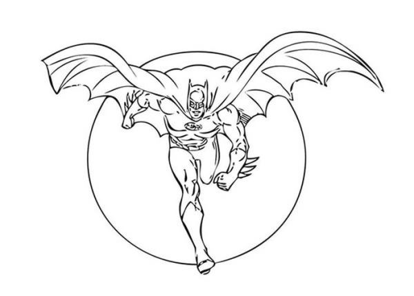 Batman Flying On Full Moon Background Coloring Page