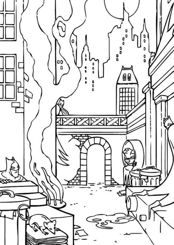 Batman Gotham City Coloring Page