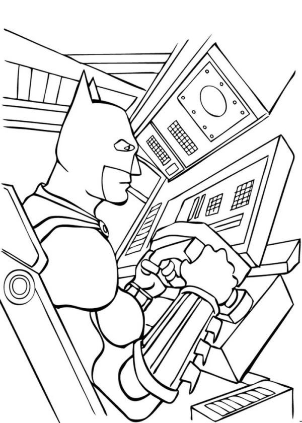 Batman In Bat Mobile Coloring Page