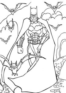 Batman In The Cave Full Of Bats Coloring Page