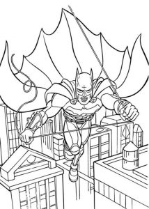Batman Jump From One Building To Another Coloring Page