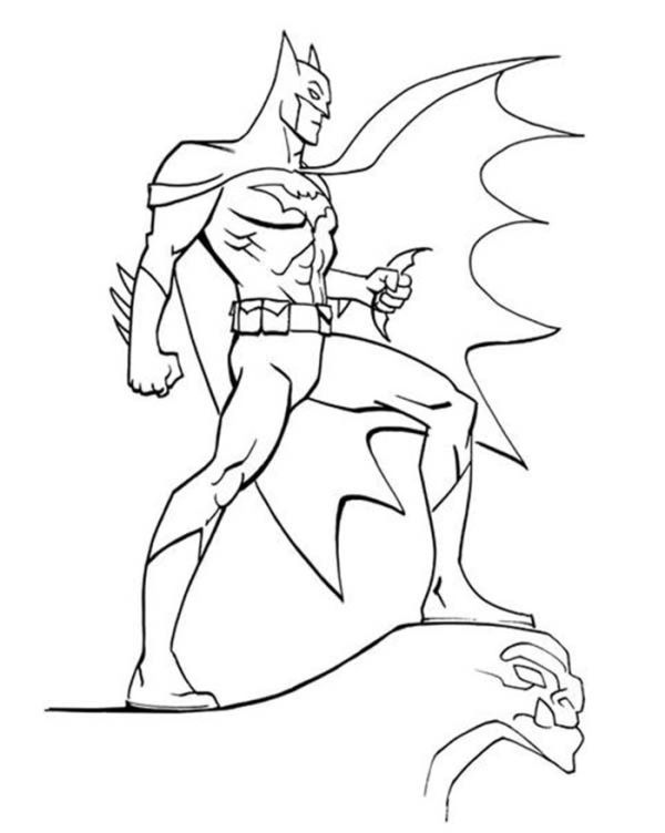 Batman Looking Ar Gotham City Coloring Page