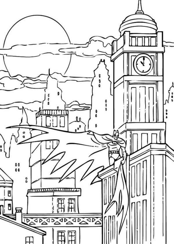 Batman Night Action At Gotham Citycoloring Page