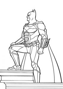 Batman Standing On Top Of Building Coloring Page