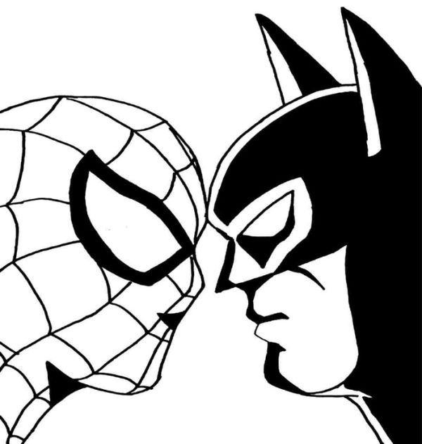 Batman and spider man coloring pages