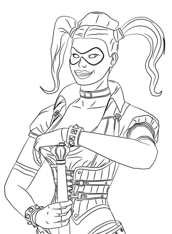 Batman harley quinn colouring pages