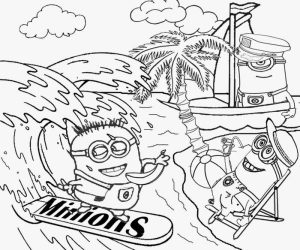 Beach holiday minion coloring pages