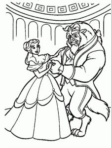 Beauty And The Beast Enchanted Christmas Coloring Pages