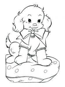 Black And White Puppy Coloring Pages