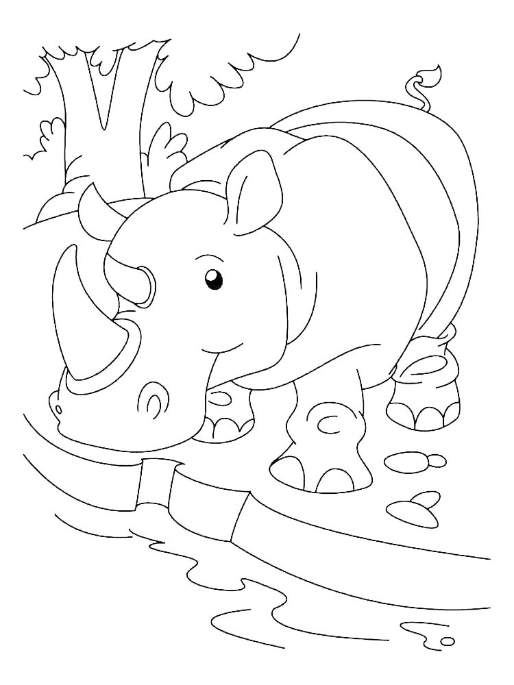 Black Rhino Coloring Pages