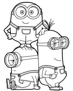 Bob Stuart Kevin Free Coloring Page To Print Three Minions Together