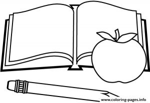Book Apple Pen Back To School Coloring Pages Printable