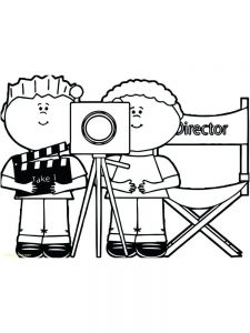 Camera Action Coloring Page