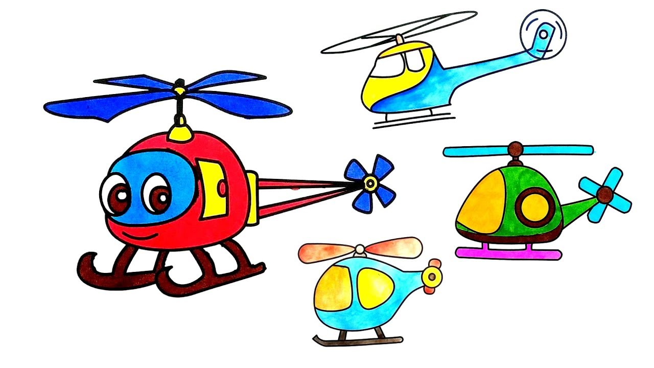 Cartoon Helicopter Coloring Pages