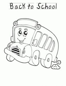 Cartoon school bus back to school coloring pages