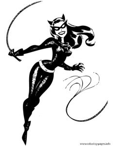 Catwoman From Batman Cartoon Coloring Pages Printable
