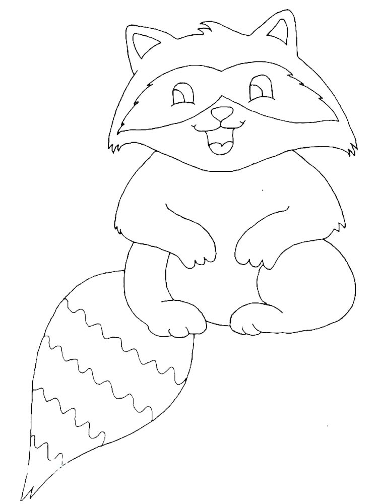 Christmas Raccoon Coloring Pages