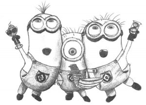 Coloring Pages Minion Singing