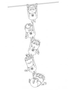Coloring Pages Minions Climbing