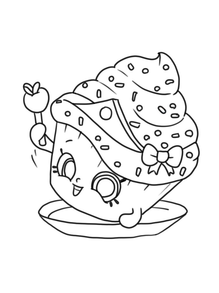 Cupcake princess coloring page shopkins free