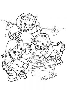 Cute Cartoon Kitten Coloring Pages