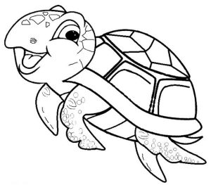 Cute and Funny Baby sea turtle coloring page