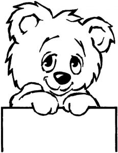 Cute face teddy bear coloring pages