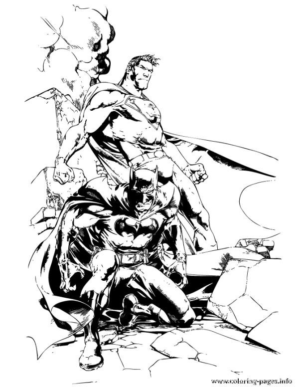 Dc Comics Superhero Batman And Superman Coloring Pages Printable