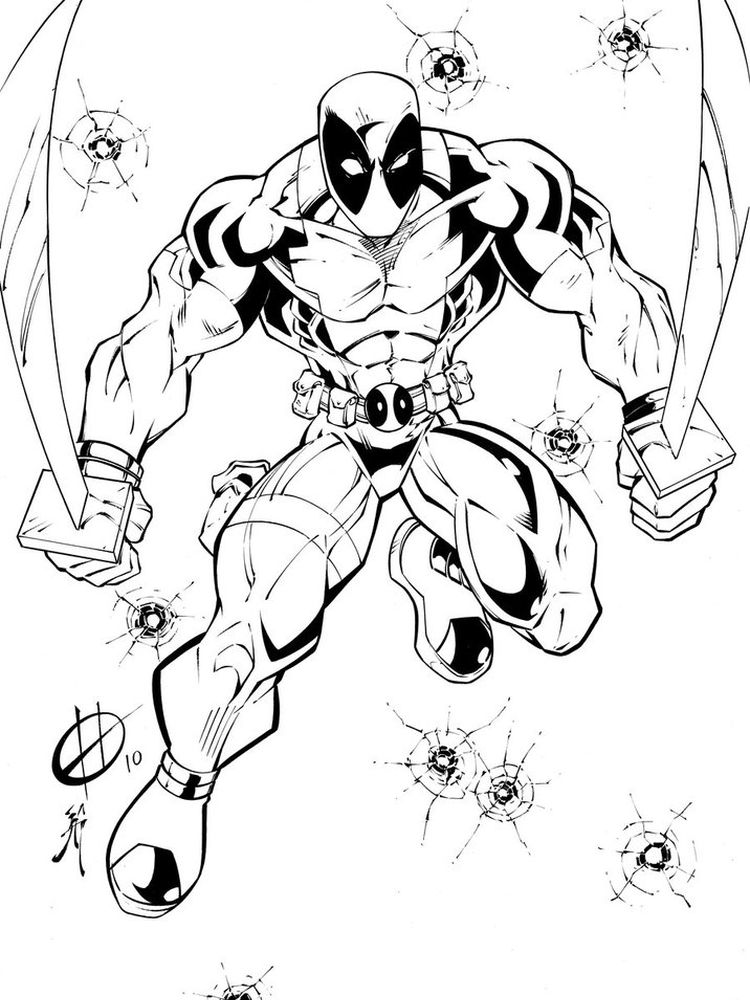 Deadpool Christmas Coloring Pages