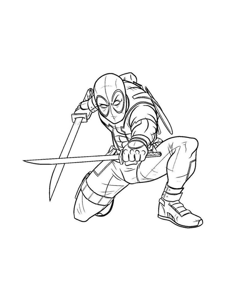 Deadpool Coloring Pages Free