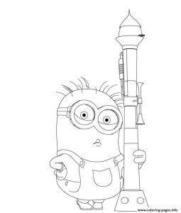 Despicable Me Minion And Bazooka Coloring Pages Printable