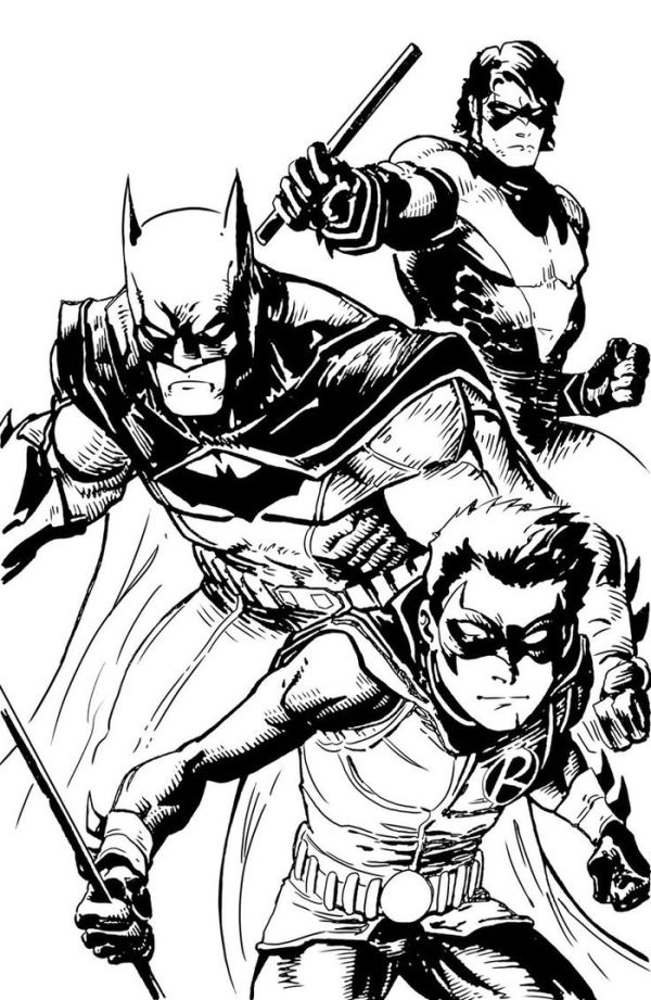 Detailed batman and robin coloring pages for adult