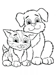 Dog And Kitten Coloring Pages
