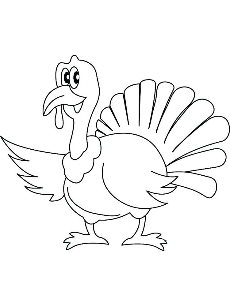 Easy Thanksgiving Turkey Coloring Pages